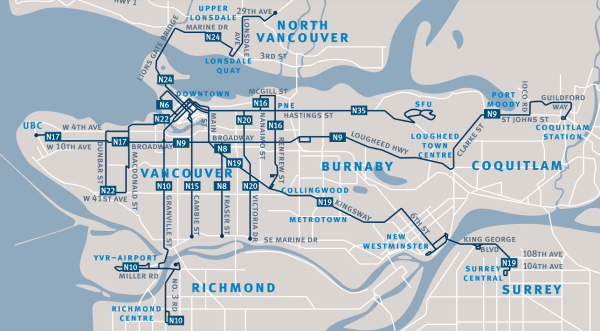 A map showing the routes in the Vancouver night bus network